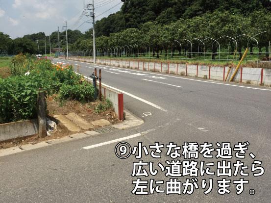 小さな橋を過ぎ、広い道路に出たら左に曲がります