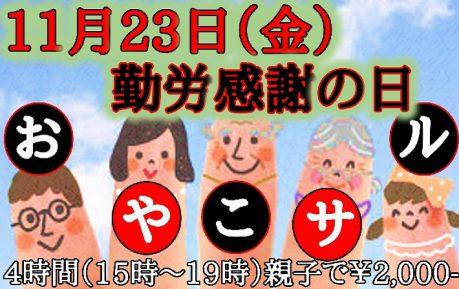 11月23日(金)勤労感謝の日!!4時間おやこサル開催決定!!!